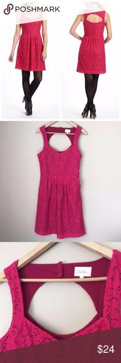 """Anthropologie Deletta Silverfield pink lace dress Anthropologie Deletta Silverfield pink lace dress pockets open back size Medium Open back. Lined. Zipper on the side. Has pockets! Bust: 18"""" across Waist: 15"""" across Length: 37.5"""" Anthropologie Dresses Midi"""