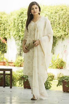 #white and #gold - classic #Summer_formals, available at #fabindia