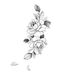 Peony Flower Tattoos, Flower Tattoo Drawings, Tattoo Design Drawings, Tattoo Sketches, Floral Tattoo Design, Flower Tattoo Designs, Tattoo Floral, Flower Tattoo Shoulder, Wrist Tattoos For Women