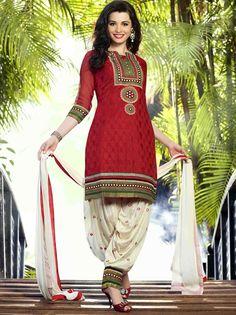 USD 31.53 Red Cotton Jacquard Punjabi Suit 47492