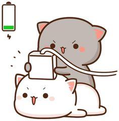 Cute Cartoon Images, Cute Couple Cartoon, Cute Love Cartoons, Cute Cartoon Wallpapers, Cat Couple, Cute Bear Drawings, Cute Animal Drawings Kawaii, Cute Kawaii Animals, Kawaii Cat