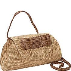Straw Handbags and Purses - eBags.com  -  Magid - Lurex Paper Straw Bow Clutch/Crossbody - FashionFilmsNYC.com