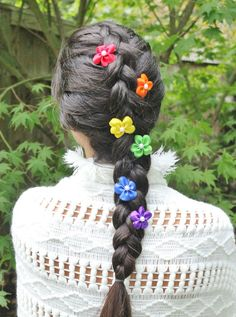 Rainbow Collection Set of 6 Mini Hair Flowers