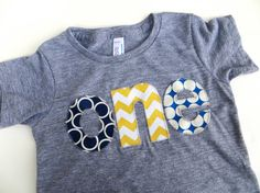 1st Birthday Shirt lowercase one shirt with navy, blue, yellow for boys 1st Birthday Shirt