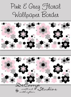 Pink, Purple, And Black Floral Wallpaper Border Wall Art Decals For Baby  Girls Flower Garden Nursery Room And Childrens Bedroom Decor