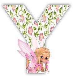 Alfabeto hada rubia con fondo de flores. | Oh my Alfabetos!