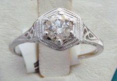Antique Diamond Solitary Ring 14kt | eBay