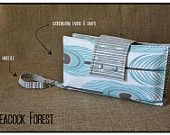 """""""Peacock Forest"""" Nappy Clutch A$28.00 plus postage  (Nappy Clutch / Diaper Clutch / Nappy Wallet / Diaper Wallet)"""