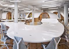 Clive Wilkinson Architects organized the Barbarian Group's New York office around a continuous communal desk. Photography by Michael Moran/Otto. New York Office, City Office, Open Office, Smart Office, Office Floor, Office Spaces, Interior Design Magazine, Barbarian Group, Design Despace