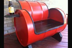 Seat Made from Old Industrial Metal Drum