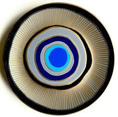 Blue Evil Eye Decor - Decorative Plate - Golden Black and Blue - Blue Mandala…