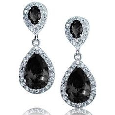 Bling Jewelry Bling The Black Drop ($33) ❤ liked on Polyvore featuring jewelry, earrings, black, dangle-earrings, pave earrings, teardrop chandelier earrings, long teardrop earrings, black teardrop earrings and fake earrings