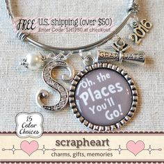 Graduation Gift Bangle, Oh The Places You'll Go Jewelry - by ScrapheartGifts