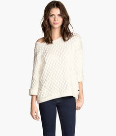 Oversized white cotton sweater with textured knit & 3/4-length sleeves. | Warm in H&M