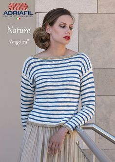 NEW IN!   Angelica pullover   #NATURE yarn by #Adriafil, pure Egyptian non-mercerized cotton    #Pattern here: http://www.ravelry.com/patterns/library/adriafil-angelica
