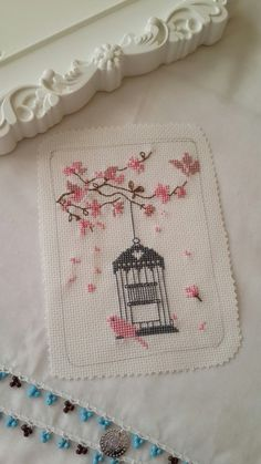Cherry Blossom mini Birds and cage embroidery files for by artapli Cross Stitch Bird, Cross Stitch Designs, Cross Stitching, Cross Stitch Patterns, Embroidery Art, Cross Stitch Embroidery, Embroidery Patterns, Crochet Patterns, Crochet Cross