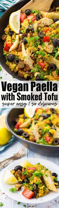 This vegan paella with smoked tofu and artichokes feels like taking a trip to Spain. It makes the perfect vegan dinner! Check out veganheaven.org for more vegan recipes!
