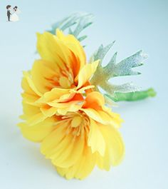 Yellow and Sage Bloom Boutonniere - Silk - Groom fashion accessories (*Amazon Partner-Link)