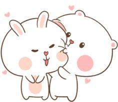 TuaGom : Puffy Bear & Rabbit by Tora Jung Cute Cartoon Images, Cute Couple Cartoon, Cute Love Cartoons, Cute Cartoon Wallpapers, Cute Wallpaper Backgrounds, Cute Bear Drawings, Cute Kawaii Animals, Cute Love Stories, Cute Love Gif