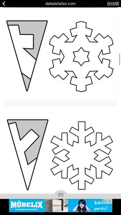 34 ideas for diy art paper snowflake template Christmas Crafts For Kids, Christmas Art, Christmas Projects, Holiday Crafts, Christmas Decorations, Paper Snowflake Template, Paper Snowflake Patterns, Snow Flakes Diy, Snow Flakes Paper