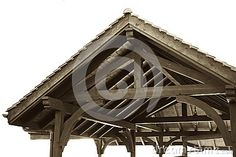 Photo about This is a vintage isolated image of a rustic Swiss timber frame gable roof. Image of rustic, truss, tile - 80829535 Gable Roof, Tile, Objects, Rustic, Stock Photos, Frame, Vintage, Country Primitive, Picture Frame