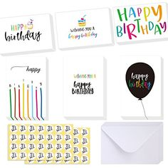 Ohuhu Happy Birthday Gift Cards, 48 Assorted Folded Kids Birthday Greeting Blank Note Cards W/ 48 White Envelopes and 48 Stickers, 4 x 6 inch, Candle, Cake Balloon Designs Card Stocks for Children #Ohuhu #Happy #Birthday #Gift #Cards, #Assorted #Folded #Kids #Greeting #Blank #Note #Cards #White #Envelopes #Stickers, #inch, #Candle, #Cake #Balloon #Designs #Card #Stocks #Children