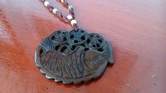 bakelite fish pendant vintage jewelry jewellery semi precious stones 1970-1980s  #Pendant