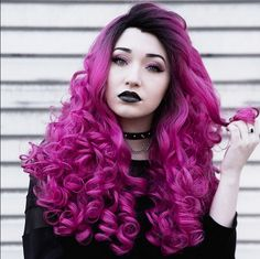 Our spokesmodel/muse Elodie @beescuit05 is killing us with dark beauty & glam in this shot wearing our new Dark-Rooted Lacefront wig. #lacefront #wig #pinkhair #curlyhair #longhair #alternativehair #hairstyle ##hairtrend2015 #muse #gothiclolitawigs #rockstarwigs #goth #gothic