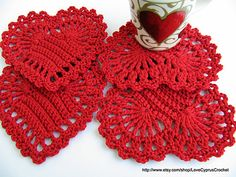 "Ravelry: ""Red Heart"" Coaster Simple Tutorial Crochet Pattern By Lyubava Crochet pattern by Lyubava Crochet"