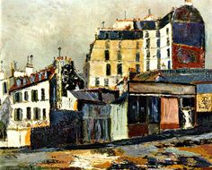 Maurice Utrillo, Rue Ravignan, 1911 ca. Monuments, Maurice Utrillo, Post Impressionism, France, French Artists, Urban Landscape, Contemporary Paintings, Abstract Paintings, Sculpture Art
