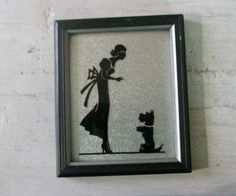 """Art Deco, Framed Silhouette,"""" Say Please"""" Caption, Scottie Dog Silhouette, Painted on Glass, Framed Wall Art, Women and Scottish Terrier by 1560main on Etsy"""