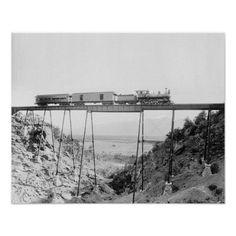 Train Crossing High Bridge, 1890. A Colorado Midland train crosses a high bridge near Buena Vista, Colorado.