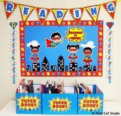 Superhero Theme Reading Bulletin Board Set: This fun Superhero Kids theme… Superhero Bulletin Boards, Superhero Classroom Decorations, Reading Bulletin Boards, Classroom Themes, New Classroom, Preschool Classroom, Kindergarten, Super Reader, Superhero Kids