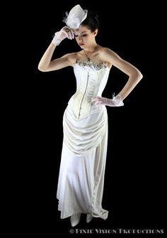 A simple corseted steam punk wedding dress!