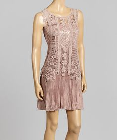 Another great find on #zulily! Mauve Embroidered Overlay Linen-Blend Dress by Pretty Angel #zulilyfinds