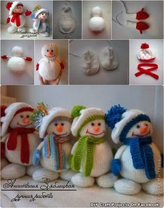 Snowmen made from socks - too cute xx