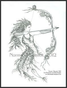 Archeress by Norma Burnell Fairy Tangles: March 2012 Sagittarius Tattoo Designs, Sagittarius Art, Art Drawings Sketches, Tattoo Drawings, Viking Tattoo Meaning, Body Art Tattoos, Sleeve Tattoos, Tattoo Fairy, Artemis Tattoo