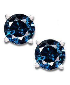 14k White Gold Earrings, Treated Blue Diamond Stud Earrings (1/2 ct. t.w.)