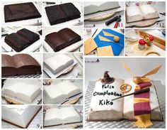 Harry potter cake - For all your decorating supplies, please visit… Harry Potter Book Cake, Bolo Harry Potter, Gateau Harry Potter, Harry Potter Birthday Cake, Harry Potter Food, Open Book Cakes, Bible Cake, Cupcakes Decorados, Anniversaire Harry Potter