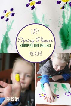 Spring Flower Art Project for Kids to Create - hands on : as we grow Reuse a bottle as a stamp to create this flower art project! Its a quick and creative process that kids will love to see how Art Activities For Toddlers, Outdoor Activities For Kids, Preschool Themes, Spring Activities, Craft Activities, Spring Crafts For Kids, Holiday Crafts For Kids, Kids Crafts, Toddler Art Projects