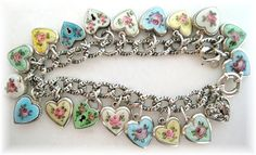 Beautiful Vintage Guilloche Enamel Rose Heart Charm Bracelet Sterling my dream bracelet sigh...on Ebay <3