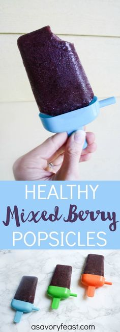 Healthy Mixed Berry Popsicles // You won't believe this homemade Mixed Berry Popsicle recipe is healthy! Packed with fruit, almond milk, chia seeds and even spinach. Kids and adults alike will love them! Get the easy recipe at A Savory Feast.
