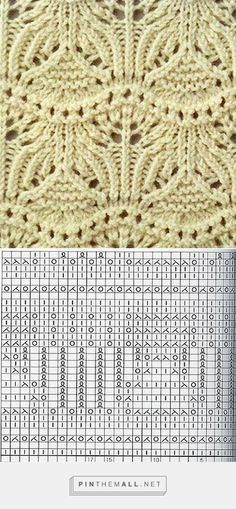 I think this is the same lace knitting pattern in the white sweater ~ 17-stitch, 22-row repeat