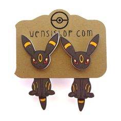 Umbreon (Pokemon Inspired) Cling Earrings ($12) ❤ liked on Polyvore featuring jewelry, earrings, accessories, piercings, pokemon and earrings jewelry