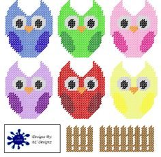 Owl Coaster Plastic Canvas Pattern Set - plastic canvas (pattern for sale at Etsy, PC Designs)