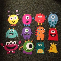 My monster door decs for the fall semester! My monster do Kids Crafts, Diy And Crafts, Paper Crafts, Monster 1st Birthdays, Monster Birthday Parties, Monster Party, Party Monsters, Halloween Crafts, Halloween Decorations
