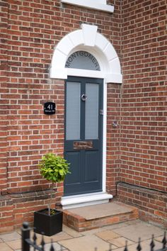 Beautiful, modern & traditional timber front doors - timber entrance doors, all made to measure using engineered timber & top performance double glazing. Dark Grey Front Door, Timber Front Door, Timber Windows, Double Front Doors, Front Door Entrance, Grey Doors, Glass Front Door, Front Door Decor, Glass Door