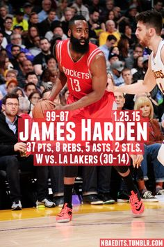 James Harden - 1.25.15 - W vs. Los Angeles Lakers - http://nbafunnymeme.com/nba-best-players-of-the-day/james-harden-1-25-15-w-vs-los-angeles-lakers
