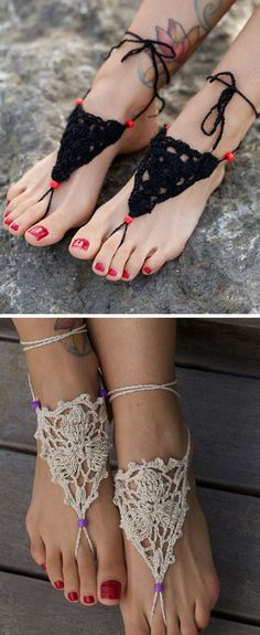 Crochet Barefoot Sandals ♡ L.O.V.E.  I say footwear, more like foot adornment, either way they look beautiful.