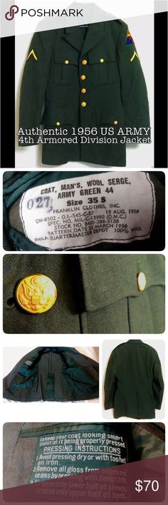 "1956 Men's US Army Military Coat 1956 dated. It is a US Army Man's Coat, 4th Armored Division, Material Wool Serge, Shade 44"".  Serial No.QM-8502 - O.I. -545-C-57 SPEC. No. MIL-C-13990 (Q.M.C.) Stock No. 8405-286-5138. In EXCELLENT condition. Sewn is the patch forming the basic pattern of the insignia. The yellow represents the cavalry, the blue the infantry, and the red the artillery. FRANKLIN CLOTHES, INC.  Chest 37"" (All-around) Waist 32"" (All-around) Front Length 30.5"" Shoulder to…"